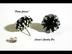 DIY Beading tutorial - Petite flower post earrings with round seed beads and crystals - YouTube