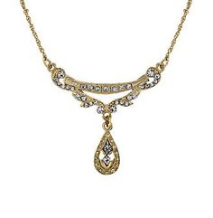 """Downton Abbey® Goldtone Crystal Edwardian Swag Shaped Collar 16""""-19""""Adjustable at www.herbergers.com"""