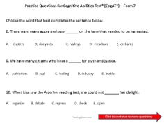 Practice questions for the CogAT Form 7--Fifth and Sixth Grade