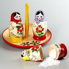 Cute matryoshka salt and pepper shaker