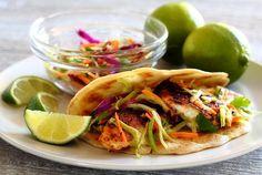 Paleo Spicy Tilapia Baja Tacos with Lime Slaw and Avocado Cilantro Sauce- so amazing!!!!!!