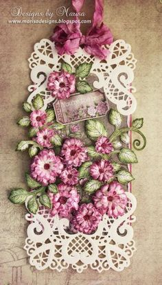 Tag by Marisa Jobs  (021814)  [Heartfelt Creations  (dies) Classic Leaf, Majestic Blooms, Raindrops on Roses; (stamps)  Calssic Leaf Precut Set, Open Leaf Precut Set, Vintage Morning Background Precut Set]