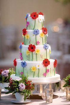 Tartas de boda - Wedding Cake - such a happy and pretty cake! Bolo Floral, Floral Cake, Gorgeous Cakes, Pretty Cakes, Amazing Cakes, Bolo Glamour, Fondant Cakes, Cupcake Cakes, Shoe Cakes