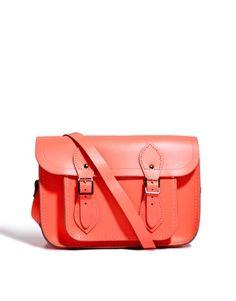 Cambridge Satchel Company Exclusive to Asos 11 Coral Fluro Leather Satchel $191