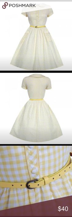 Lindy Bop Yellow Gingham Pinup Retro Vintage Dress So sweet! Yellow Gingham dress with buttons. It's got pockets! Belt included. Dress is slightly sheer so would need a slip under. NWT and excellent condition. Belt included. UK size 18/US size 14 lindy bop Dresses