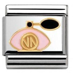 Shop Gold Perfume Bottle - Classic Nomination Charm 60004070 from Something Elegant. Bracelet Nomination, Nomination Charms, Charm Jewelry, Jewelry Shop, Jewelry Stores, Jewelry Design, Jewellery, Link Bracelets, Bangle Bracelets