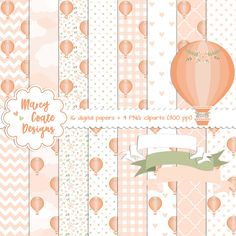 Peach Hot Air Balloon digital paper, Peach Hot Air Balloon clipart, commercial use OK for planners, stickers, scrapbooking, card making, etc