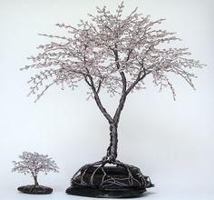 "Spring Blossoms Lavender Blue Beaded Bonsai Mini Wire Tree Sculpture 2.5"" full - CUSTOM made to order. $25.00, via Etsy."