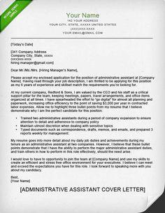 cover letter sample administrative assistant park