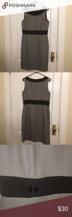 Black and white patterned dress In excellent condition has black belt illusion sleeveless Tahari Dresses