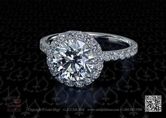 811 halo diamond custom made engagement ring by Leon Mege