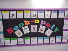 Book-opoly Bulletin Board by Sally Book Bunny, via Flickr Library Games, Library Book Displays, Library Signs, Library Boards, Library Activities, Library Ideas, Teen Activities, Library Wall, Middle School Libraries