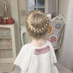 My little angel Baylee I'm thinking of doing a tutorial for this style? #SweetHearts #halobraid #trenzas #braids #braidsforlittlegirls #modernsalon #americansalon #behindthechair