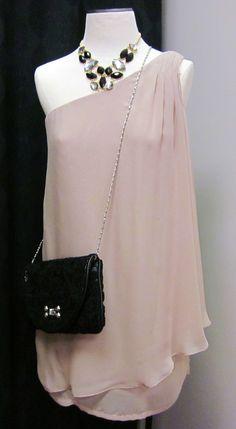 blush one shoulder grecian dress $42.50, statement necklace $23