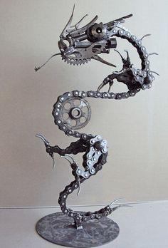 alt metall skulptur drache ketten