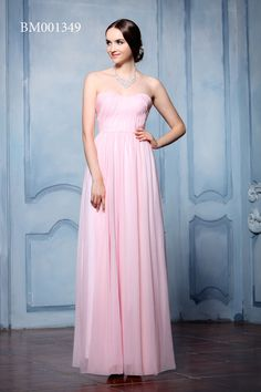 Gorgeous baby pink bridesmaids strapless dress.