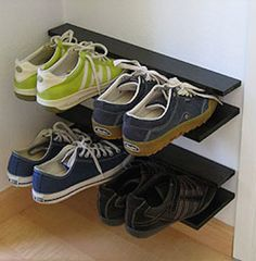 Creative shoe storage solution gets your shoes off the floor and helps organize your home.