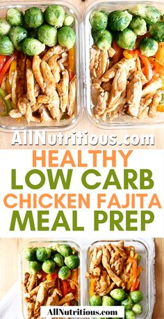 These low carb chicken fajitas are delicious and nutritious. Try this meal prep recipes if you're on a low carb diet and need to pack up food for work. #mealprep #mealplan #lowcarb