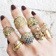 Polly Wales diamond, ruby and sapphire rings // ESQUELETO