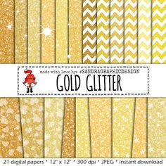 "New to SandraGraphicDesign on Etsy: Glitter digital paper ""GOLD GLITTER"" with colorful glitter backgrounds glitter textures in gold colors (1026) (4.25 USD)"
