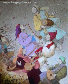 "http://www.largogallery.com/ Angel Gerdzhikov, ""The band goes to the sky"", canvas, acrylic"