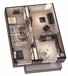 3d House Plans, House Layout Plans, Small House Plans, House Layouts, Sims 3 Houses Plans, Modern House Plans, Two Bedroom Tiny House, 2 Bedroom House Plans, Bedroom Small