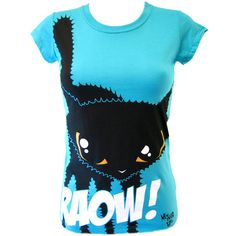 Newbreed Girl Raow Kitty T-Shirt | Gothic Clothing | Emo clothing |... ($31) ❤ liked on Polyvore featuring tops, t-shirts, shirts, blusas, punk tops, blue tee, punk t shirts, goth shirts and blue shirt