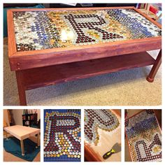 bottle caps + handy fiancé + tile grout + liquid resin = awesome coffee table