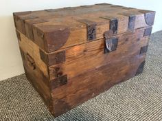 Antique Victorian W. Andrews Trunk Maker Chest Toy Blanket Tack Box Coffee Table