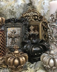 Sir Olivers by Reilly-Chance Collection - tabletop picture frames, candles and crown toppers embellished with Swarovski Crystals.