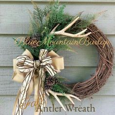 The Antler Hunting Grapevine Wreath, Fall Wreath, Front Door Wreath, Rustic… Diy Wreath, Door Wreaths, Grapevine Wreath, Wreath Fall, Wreath Ideas, Wreath Making, Hunting Wreath, Antler Wreath, Deer Antler Crafts