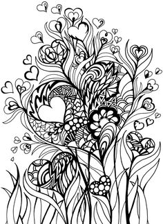 Zentangle inspired hearts and flowers doodling, art journal, Zentangle Drawings, Doodles Zentangles, Zentangle Patterns, Doodle Drawings, Zen Doodle, Doodle Art, Heart Doodle, Tangle Art, Coloring Book Pages