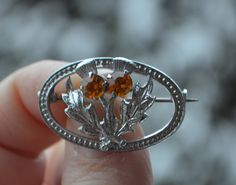 SCOTTISH THISTLE BROOCH Vintage Silver Chrome Oval Thistle Brooch Pin with Amber prong set rhinestones Scottish Thistle by StudioVintage on Etsy
