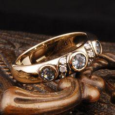 Antique Genuine 0.6ct Genuine Topaz/Diamond Real 9K Yellow Gold Vintage Ring