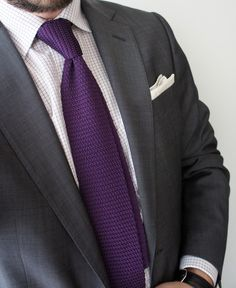 Simple black/dark gray suits with solid purple ties (probably plum ...