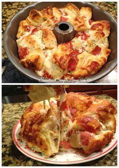 Easy Pull Apart Pizza Bread I'm always looking for fast and easy recipes and this one definitely fits the bill! Try this Easy Pull Apart Pizza Bread recipe! It goes nicely with a side of pizza sauce as a dip too! Get creative with the dips. Think Food, I Love Food, Food For Thought, Good Food, Yummy Food, Awesome Food, Fun Food, Pull Apart Pizza, Comida Diy
