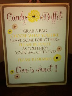 Custom Candy Buffet Signs by BellaEventDesigns on Etsy, $15.00