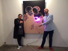 Isabel Bernheimer, Bernheimer Contemporary, and Jan Kuck, artist, before 'Old Masters New - Lucas Cranach - The Unequal Couple (Old Man in Love) II' Art Market Budapest]. Lucas Cranach, Man In Love, Old Men, Art Market, Budapest, Masters, Objects, Neon, Marketing