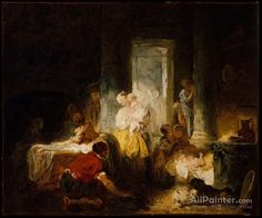 Jean Honore Fragonard,The Happy Mother oil painting reproductions for sale