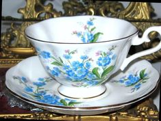 Royal Albert Tea Cup and Saucer BLUE FORGET ME NOT Floral Wide Mouth Teacup  #RoyalAlbertEngland