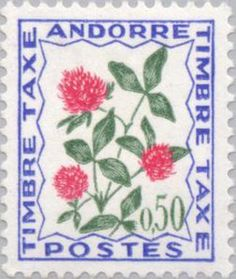 red clover stamp from Andorra. [red clover, Trifolium rubrum, Fabaceae]