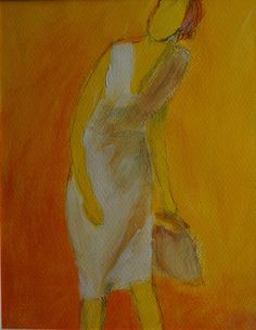 Young woman in a white dress on a yellow by ankaGilding on Etsy