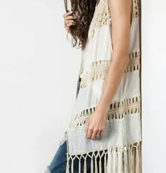 Boho cotton crochet beach dream vest Luxurious vest wrap in natural color has fantastic crochet work and fringing. All cotton and the go to piece to boho finishing of any outfit this summer. It's a beauty. Chelsea Verde Collection  Jackets & Coats Vests