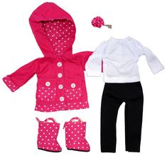 This gorgeous 5 piece set includes pink polka dot raincoat with matching rain boots and hair clip, as well as long black pants and white long sleeve tee. Suitable for Gotz Just Like Me, Les Cherie, Wellie Wishers, Disney Toddler and other slim dolls of si Boy Doll, Girl Doll Clothes, Girl Dolls, Disney Toddler Dolls, Our Generation Doll Clothes, Raincoat Jacket, Rain Jacket, American Girl Wellie Wishers, Wellie Wishers Dolls