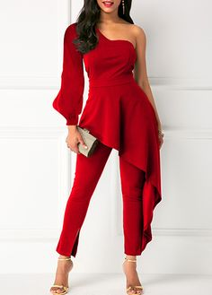 One Shoulder Ruffle Trim Roter Overall - Kleidung online kaufen Day Jumpsuits, Jumpsuits For Women, Red Jumpsuit, Jumpsuit With Sleeves, Jumpsuit Outfit, One Shoulder Jumpsuit, The Dress, Dress Girl, Ideias Fashion