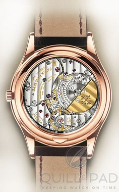 """Stunning view through the display back of the Patek Philippe 5304R Grand Complication - Flip the piece over and you are treated to a typically restrained Patek Philippe movement. Solid and clean plates striped and beveled, gold micro rotor, chatons and jewels, and the """"secret"""" repeater, whose presence is betrayed by spotting two perfectly polished hammers and a set of gongs.  And don't forget to notice the PP logo idly posing as a cage around the centrifugal governor for the minute repeater…"""