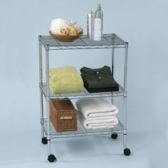 22.5-Inch by 13-Inch by 30-Inch Mini Utility Cart, Chrome