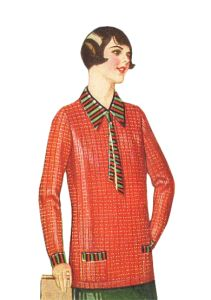 1926 Overblouse- A Thin Sweater for Warmer Climate.  Sport blouses and overblouses are another name for cloth or knit pull over sweaters. #1920s sweaters  http://www.vintagedancer.com/1920s/ladies-1920s-sweaters/