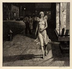 'Night in New York' by Australian-born American artist & printmaker Martin Lewis Etching, x in. Collection of Dr. via Art History News Rockwell Kent, Norman Rockwell, Edward Hopper, Harlem Renaissance, Just Magic, Greenwich Village, Art Deco, Les Oeuvres, Art History