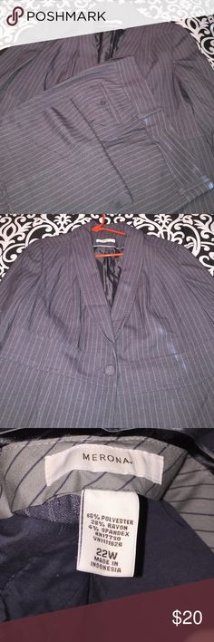 Grey pinstripe pantsuit EUC - Grey single button blazer, size 18W, with matching dress slacks, size 22W, charcoal grey w/light grey double pinstripes. Slacks have a slight issue with seam (you can repair) by left pocket. I will post a pic in comments. Priced for the suit but I will sell separately. Merona Jackets & Coats Blazers